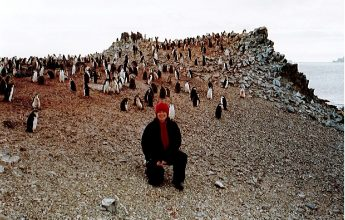 Sandi Davison and Chinstrap Penguins, Half Moon Island, Antarctica